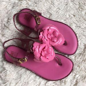 Mel dreamed by Melissa pink sparkle flower sandals
